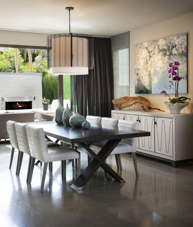 A custom Hammerton Studio Downtown Mesh drum in an indoor/outdoor dining space designed by Lori Gentile Interior Design   Solana Beach, CA