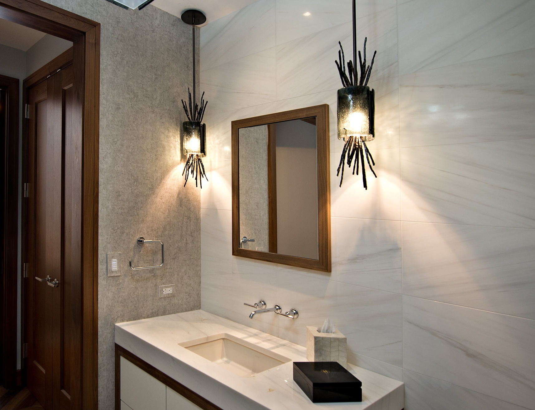 Hammerton Studio Ironwood pendants in a powder room designed by  Jamie Schachtel Design Group  | Baltimore, MD