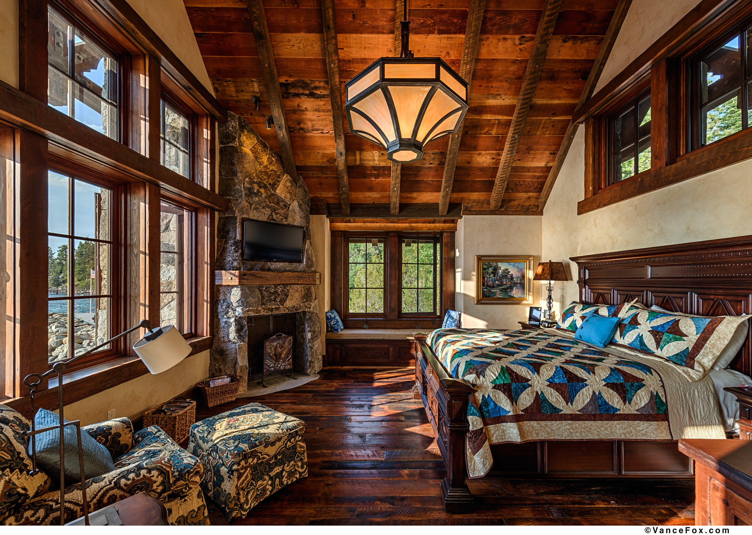 Craftsman style Hammerton chandelier in a warm mountain home. Zirbel Architects | Truckee, CA