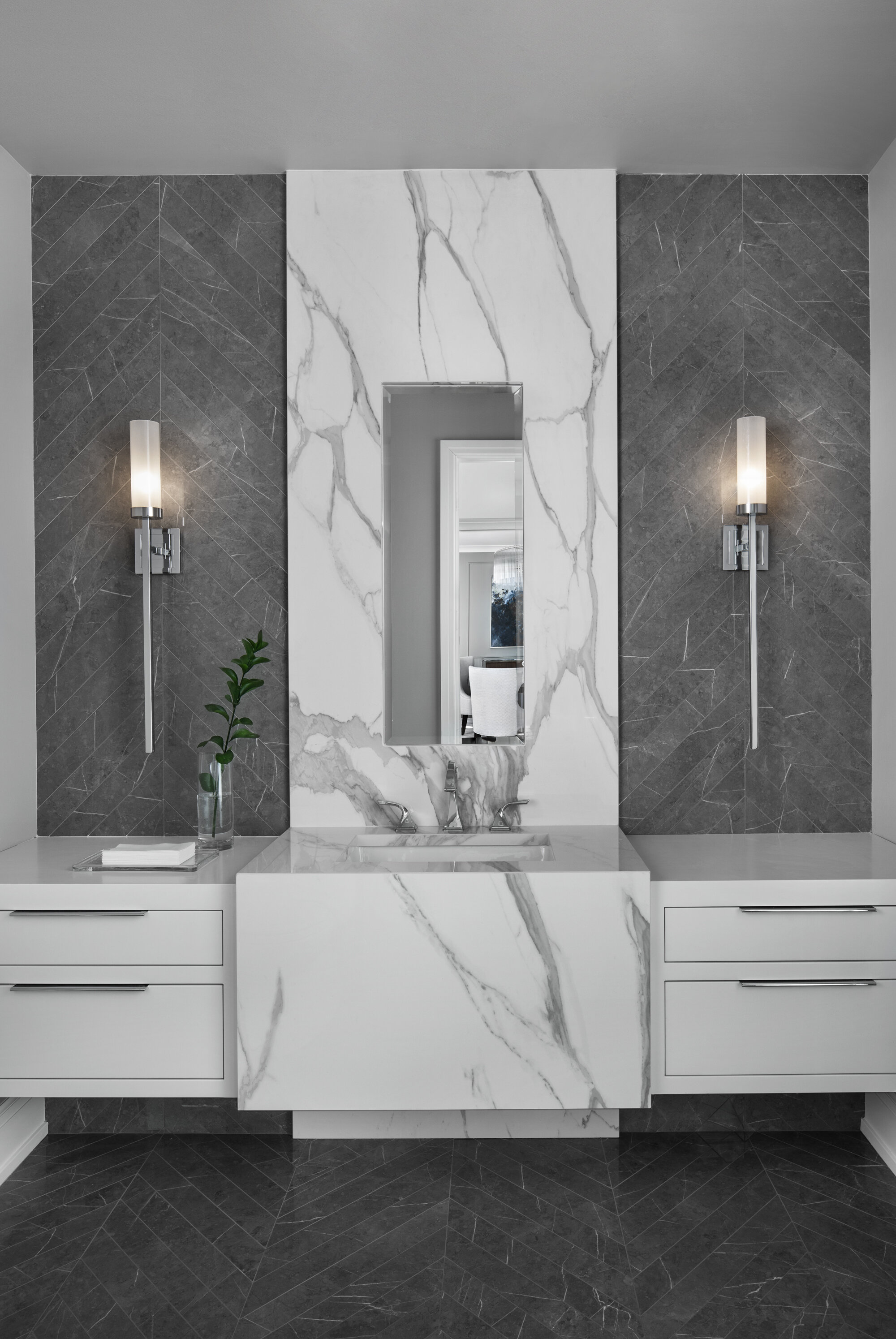 Custom contemporary sconces by Hammerton. Project Photography by Beth Singer