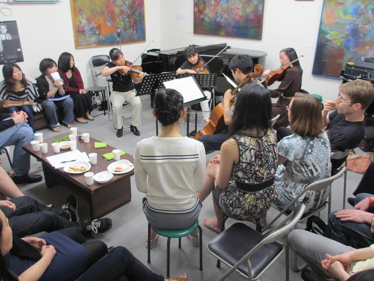 Artist party in a piano salon