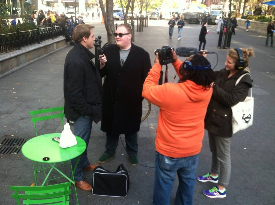 "Birdsall filming ""V-Card The Film"" in New York City."