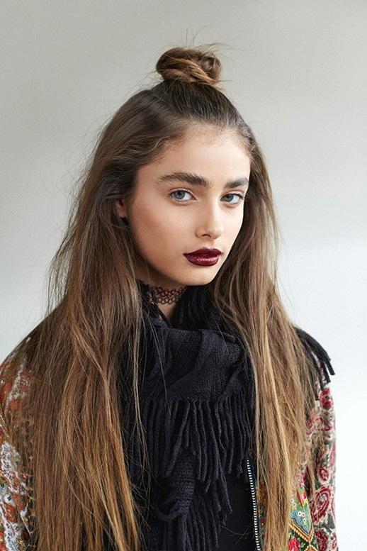 4-Le-Fashion-Blog-19-Ways-To-Wear-A-Half-Up-Top-Knot-Bun-Long-Hair-Burgundy-Lipstick-Via-LF-Stores.jpg