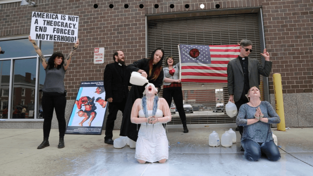 The Satanic Temple in front of Planned Parenthood