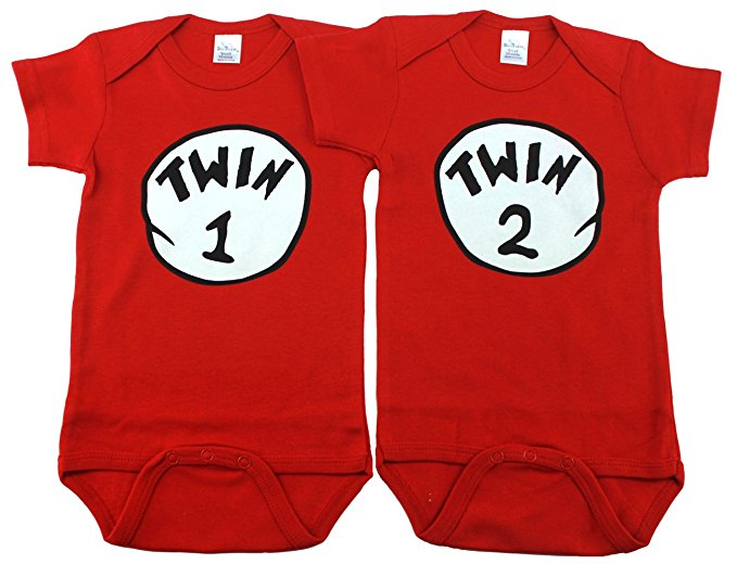 Twin 1 & Twin 2 unisex baby bodysuits   Get it? Like...twins? get this for your baybays so they can be thing 1 and thing 2. $27   Buy it here.