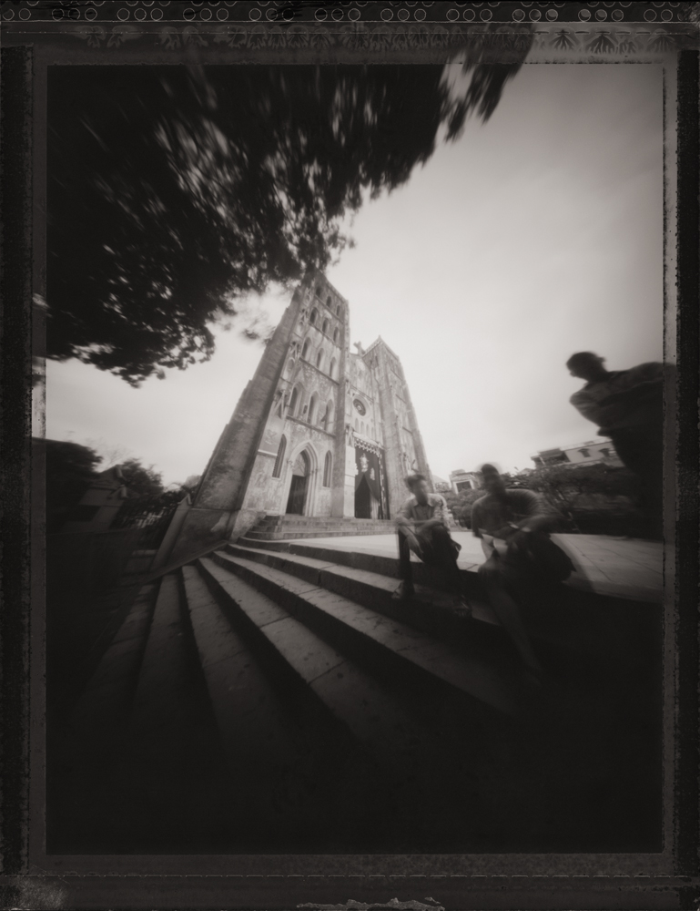 Three Parishioners, Saint Josephs Cathedral, Hanoi.  Pinhole Image © 2007.