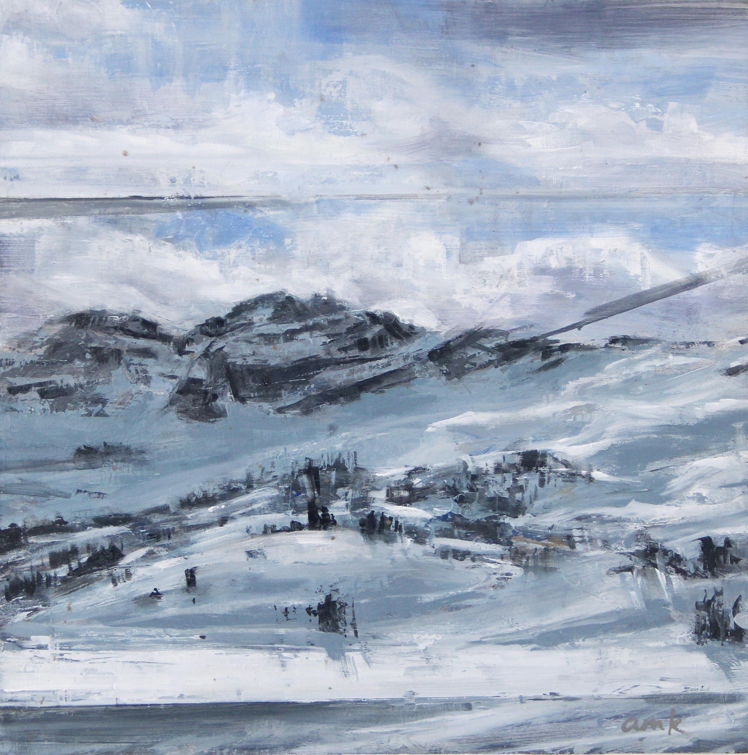 "Castle   oil on panel  11 x 11""  2014"
