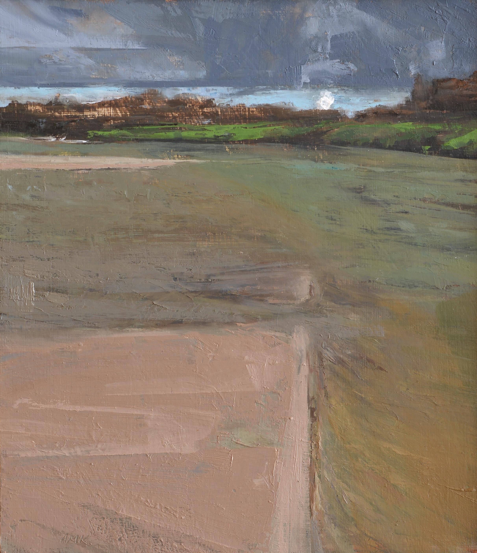"Sandbar   oil on panel  10 x 9""  2014"