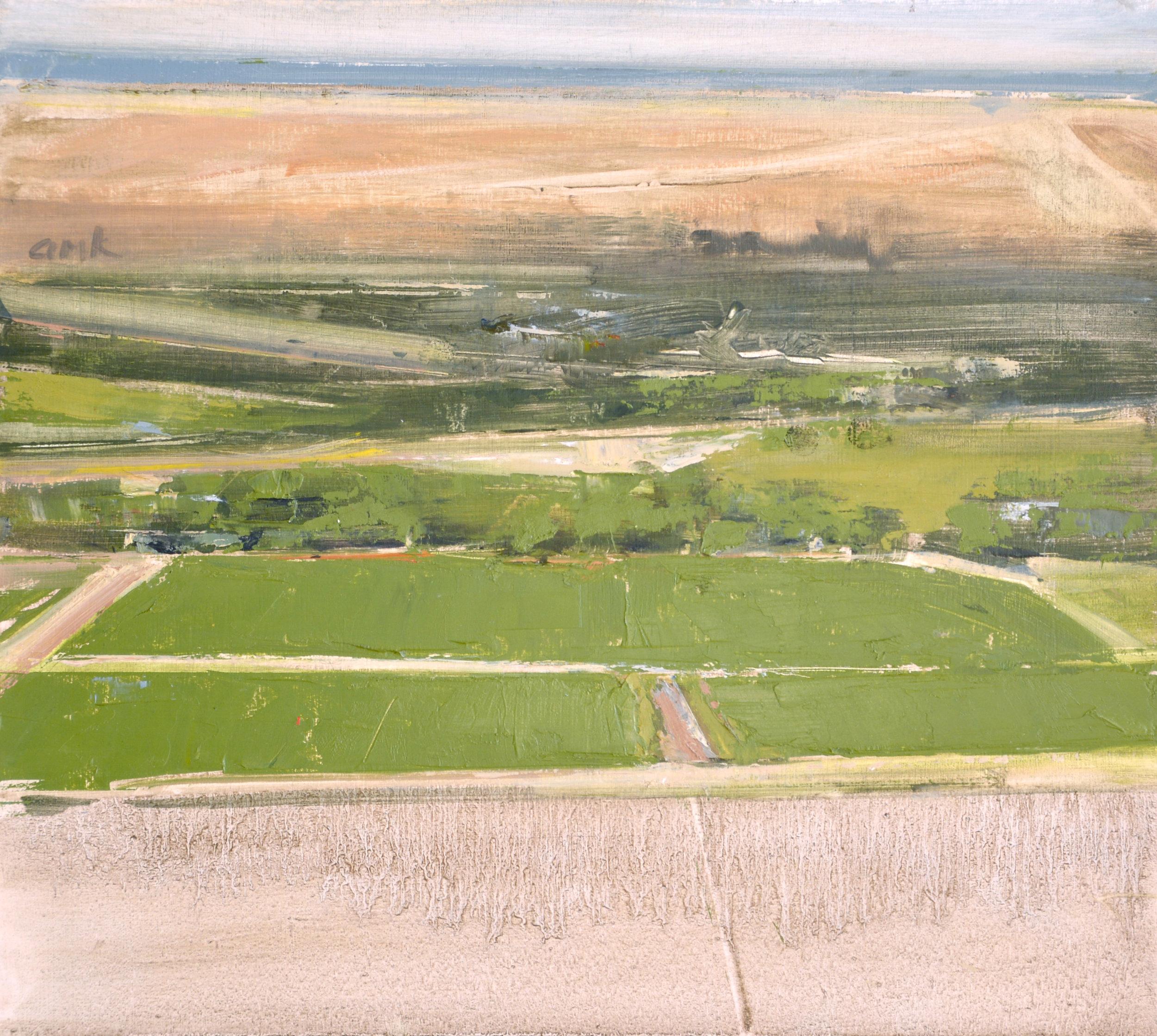 "Hayfield   oil on panel  9 x 10""  2015"
