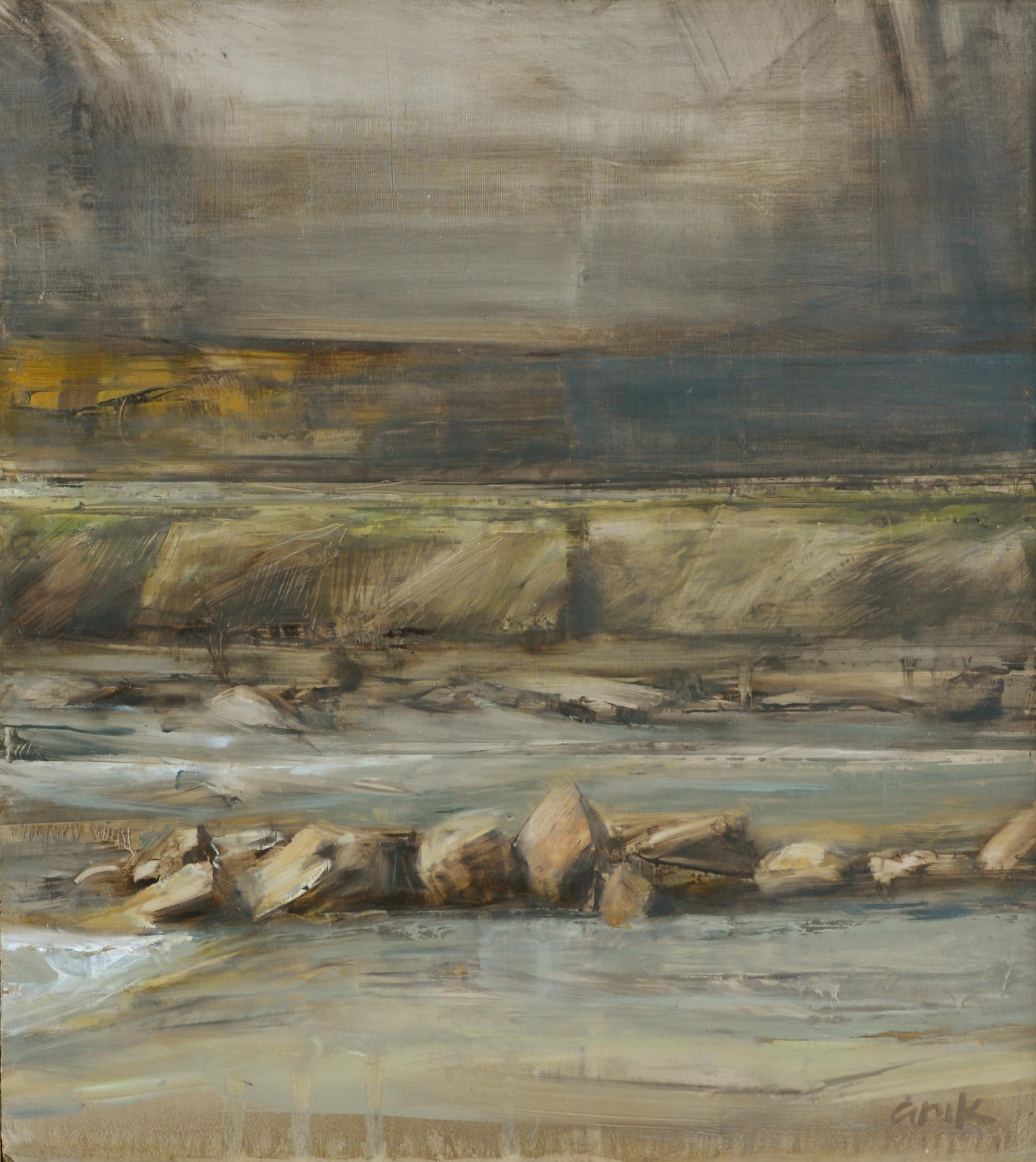 """River - December   oil on panel  11.5 x 10""""  2014"""