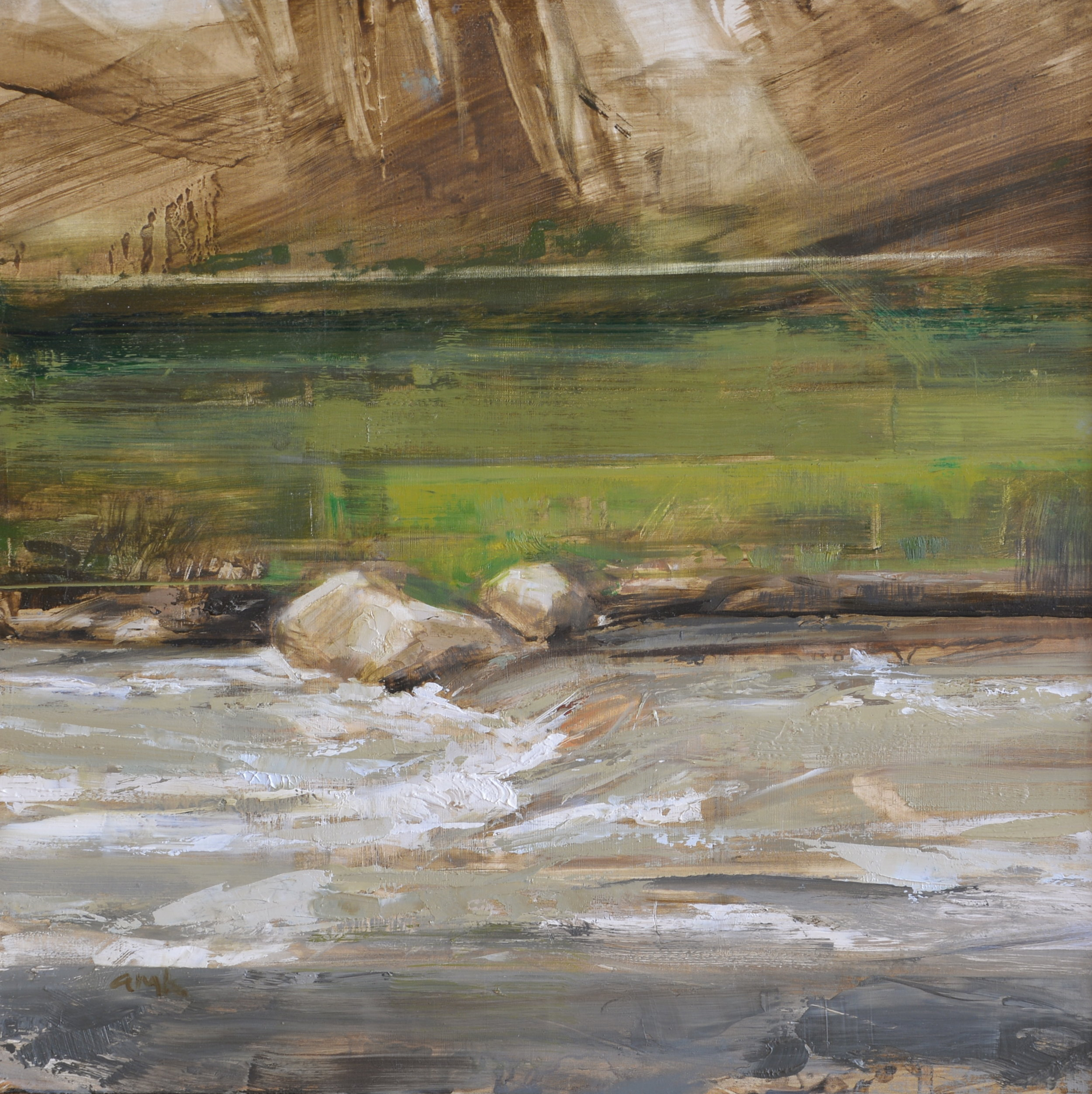"""River Trail   oil on panel  12 x 12""""  2014"""