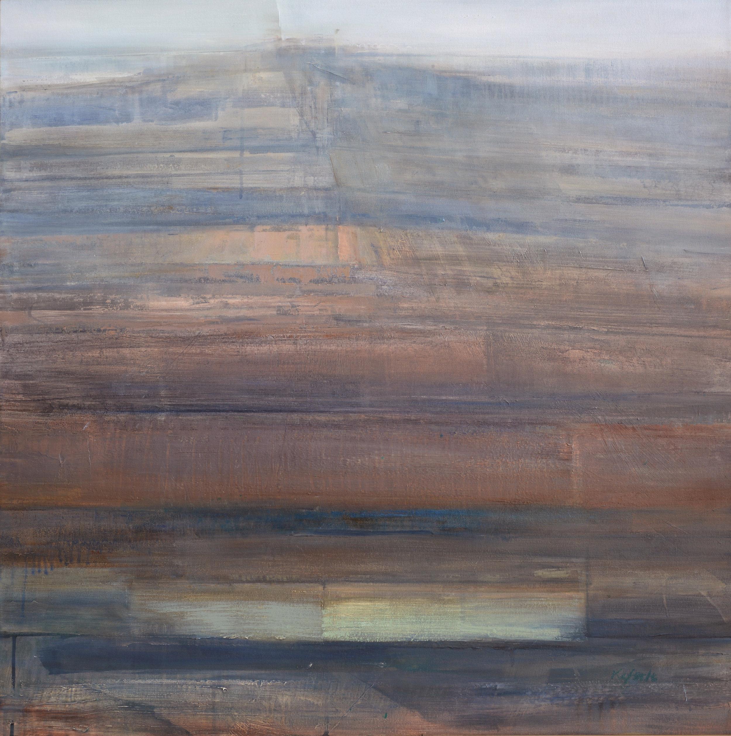 """Bluecastle   oil on canvas  36 x 36""""  2016"""