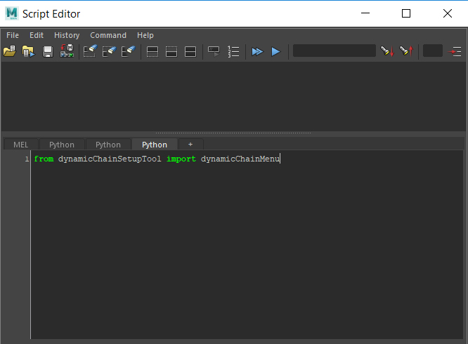 importing the DynamicChain menu in the script ediitor