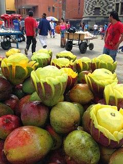 Fruit Vendor in Botero Square in Medellin, Colombia