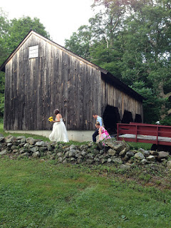 En Route to Ceremony at Farm Wedding