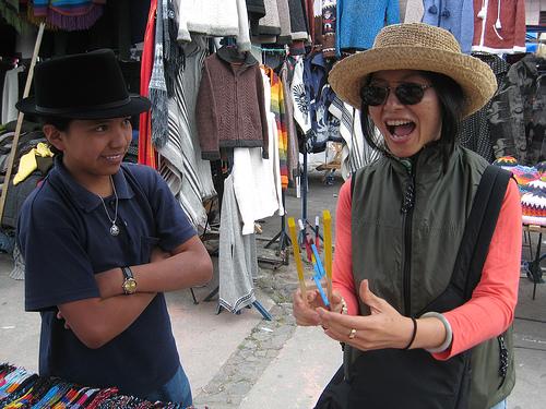 Haggling at a market in Baños, Equador