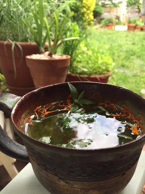Clover Timothy Calmmunity Tea with snips of Lemon Verbena and Calendula from my garden