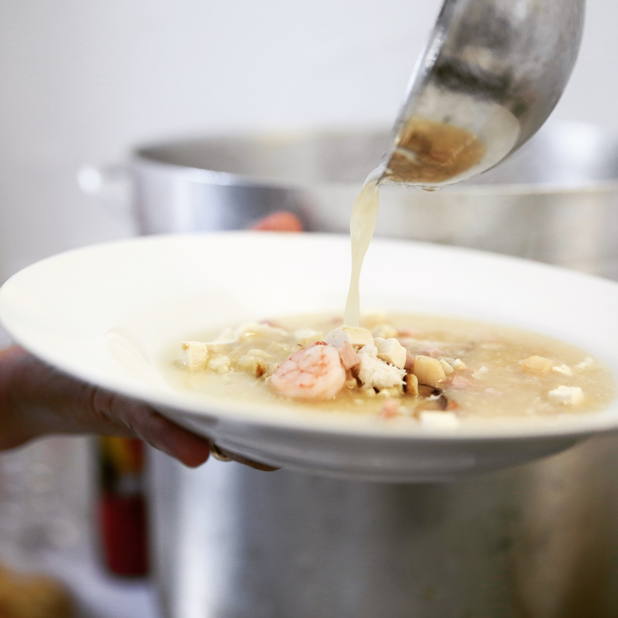 From our kitchen, Eight Treasures Soup with Crabmeat, Scallop and Shrimp.