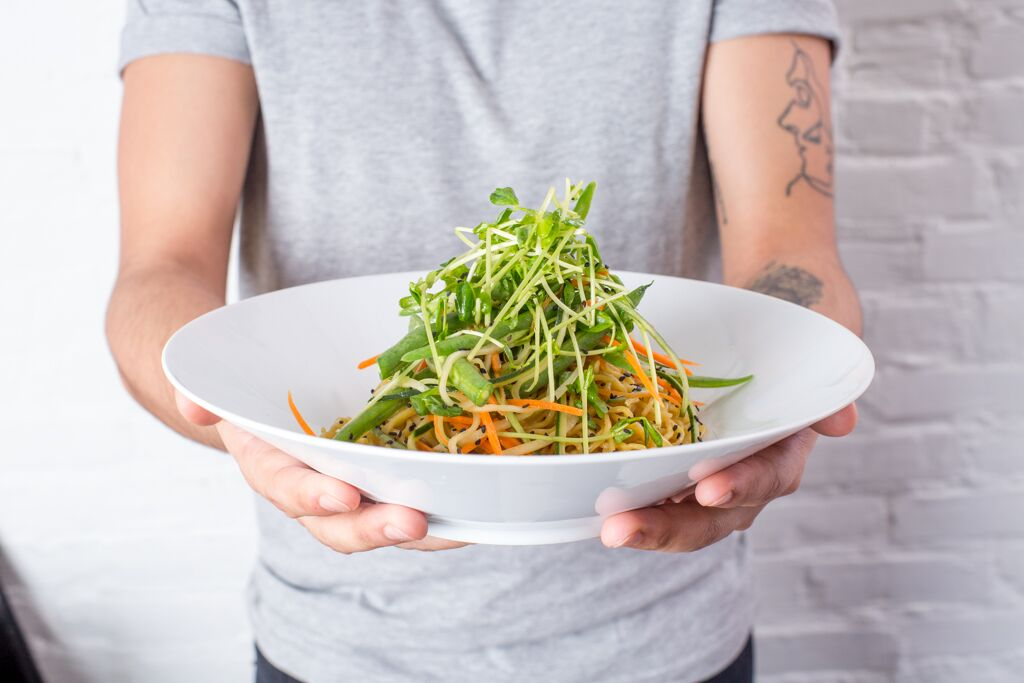 Cucumber and tender sprouts toss with Sesame Peanut Noodles