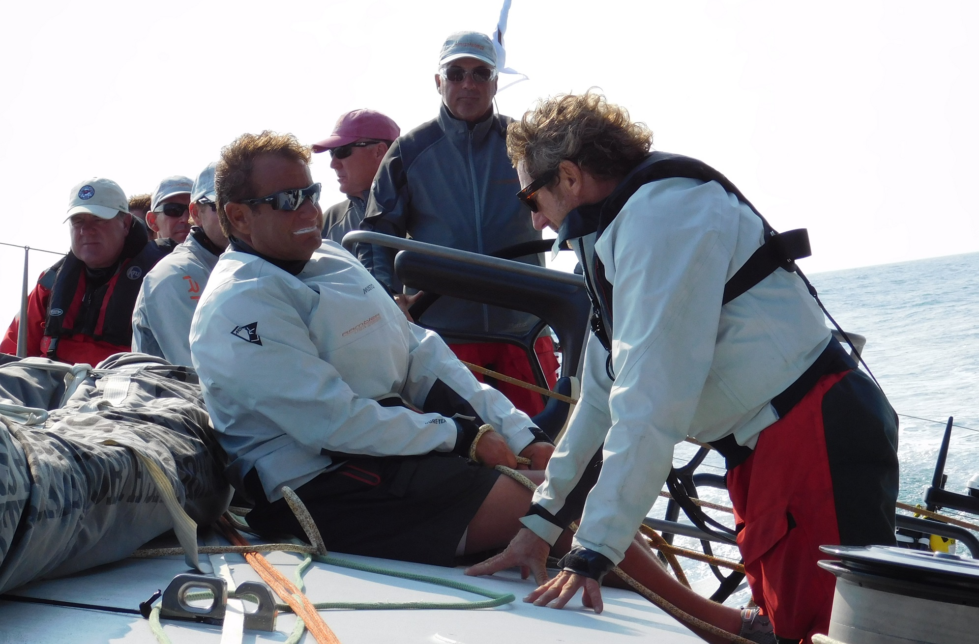 Onboard George David's  Rambler88  during the Transatlantic Race. Former America's Cup winners and  Alinghi  teammates Josh Belsky (left) and Simon Daubney surely debate the merits of getting to sleep in your own bed each evening versus a swampy pipe cot inside a carbon fiber drum.