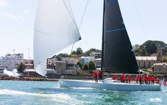 Bryon Ehrhart's  Lucky  is the overall victor in the Transatlantic Race 2015.(photo credit Hamo Thornycroft)