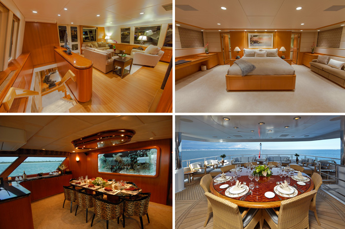 Clockwise from top left: interior and master suite aboard  Loose Ends  (photo credit Neptune Group Yachting/D&K Photography Inc.), dining areas on  Kaleen  (photo credit Neptune Group Yachting) and  Zoom Zoom Zoom  (photo credit Northrop & Johnson/Ed Holt)