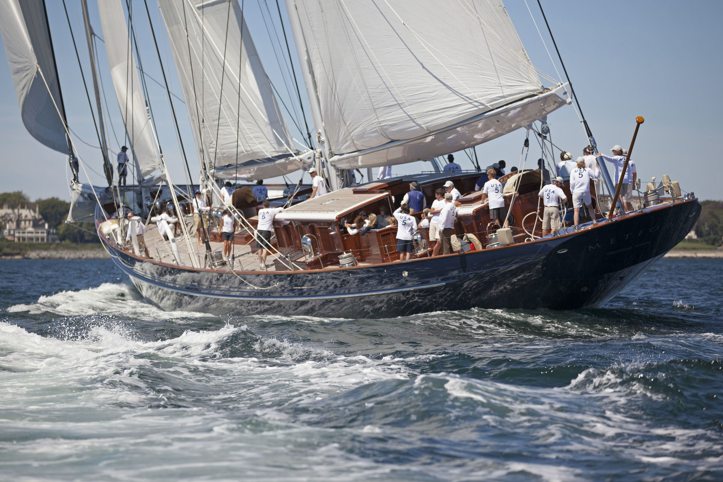 Meteor , the 170' (52 meter) schooner built by Royal Huisman will compete in the 2016 Candy Store Cup.(photo credit: Bill Black)