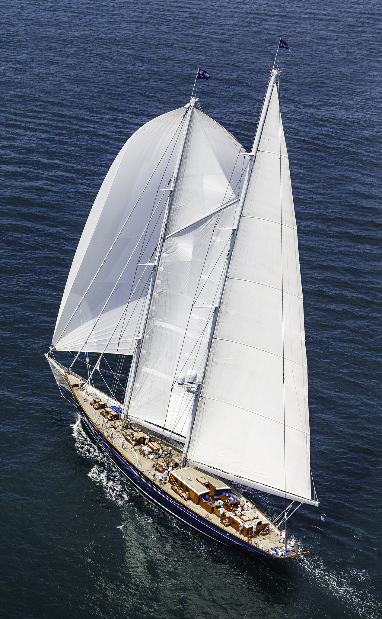 Meteor , the 170' (52 meter) schooner built by Royal Huisman and co-owned by Dan Meyers, competes in the 2016 Candy Store Cup. Photo: © Rod Harris
