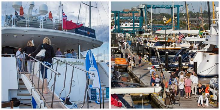 Twenty five luxury yachts, ranging in size from 60' (18.3m) to 198' (60.4m), lined the docks at Newport Shipyard for the 2017 Newport Charter Yacht Show presented by Helly Hansen. (photos by Jennifer Tinkoff)   Click photo to download in high resolution