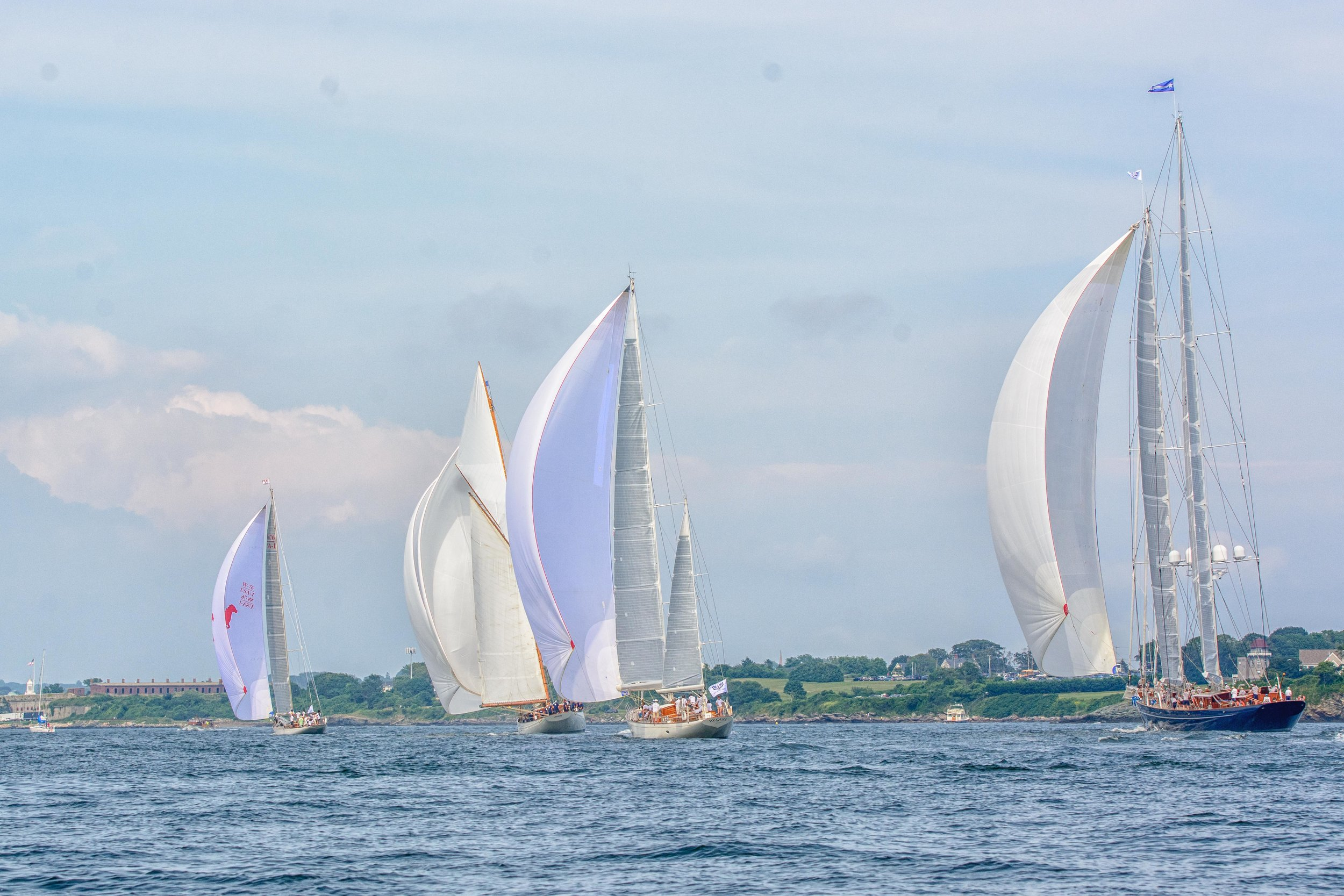 Wild Horses ,  Naema ,  Bequia,  and  Meteor , race in the 2017 Candy Store Cup.  Photo: © John Lincourt