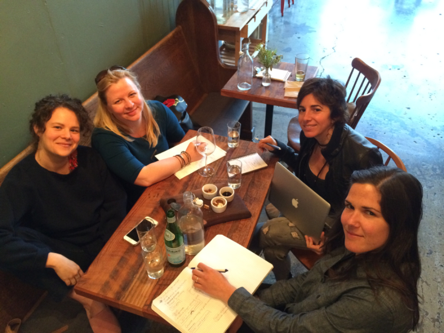 The Portland Coaching Collective at our MonthlyMeeting.  Clockwise, starting at left; Penelope Rose Miller, Michele Mather, Michele Greco & Cally Fruscello. (not pictured: Kari Morin.)