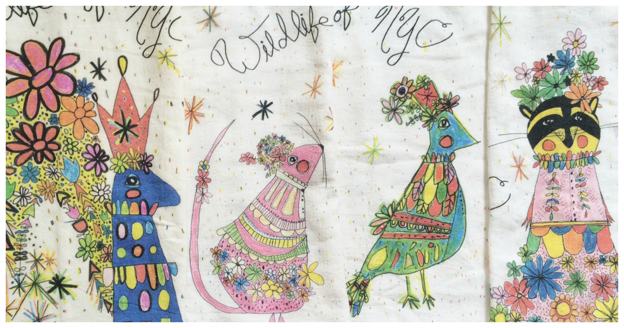 """NYC Wildlife"" tea towels by  Suzanne Kiggins  will be included with gifts of $100 or more. Supplies are limited!"