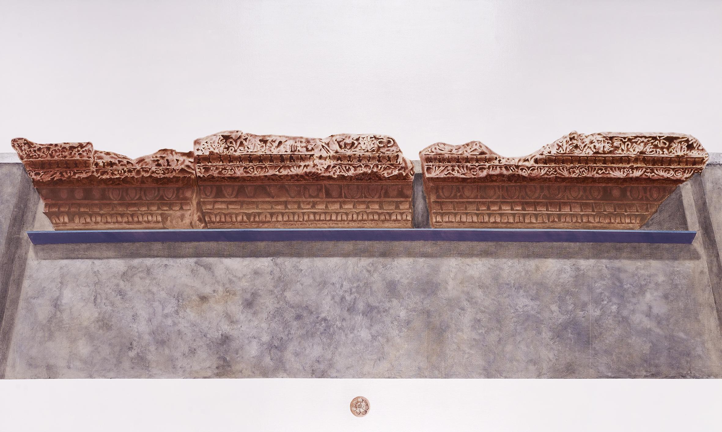 Frammento della Domus Flavia, Palatino, Roma. Napoli, Museo Arqueologico Nazionale di Napoli  2019 Olio su lino; 105 x177 cm