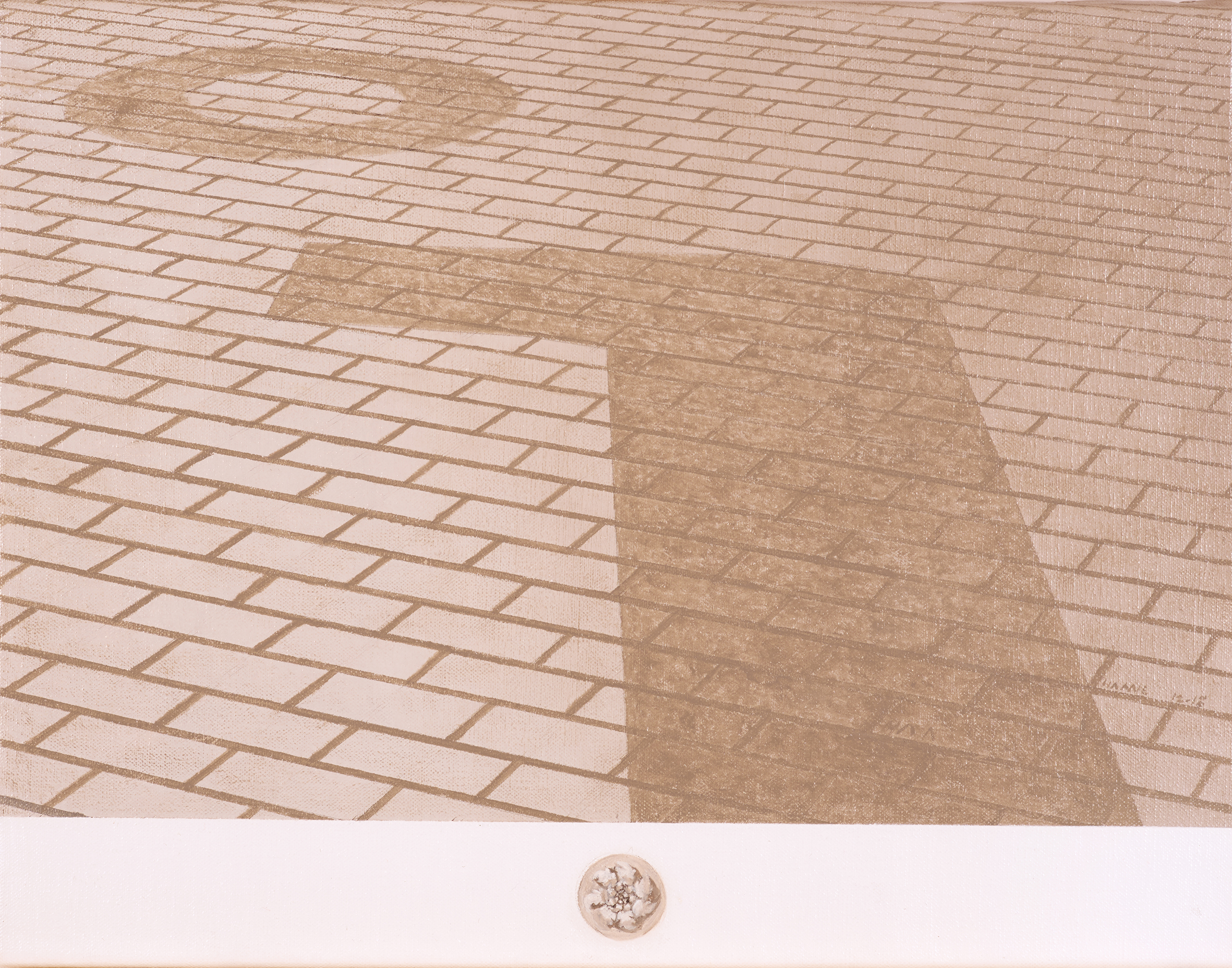 Strada con due tràccie degli resti romani, Barcellona, Spagna  2018 Olio su lino; 32.5 x 42 cm