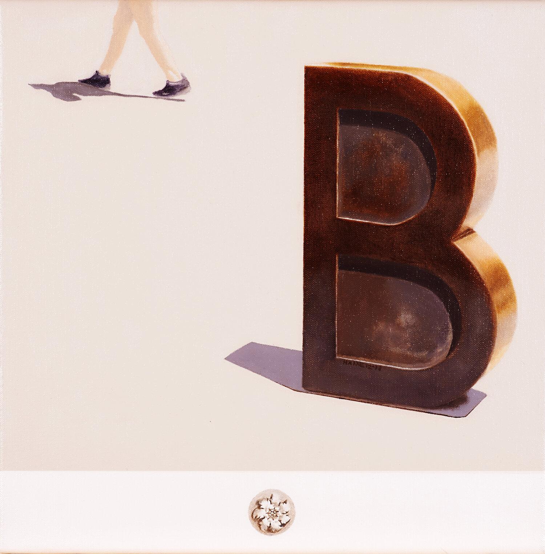 Barcino Joan Brossa, 'Bàrcino',  Barcellona, Spagna, 1994  2018 Olio su lino; 33 x 33 cm © della poesia urbana di Joan Brossa, Fundazione Joan Brossa, 2019