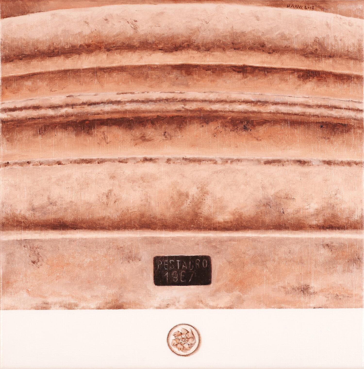 Frammento di colonna romana, Ostia antica   2018   Olio su lino, 30 x 30 cm