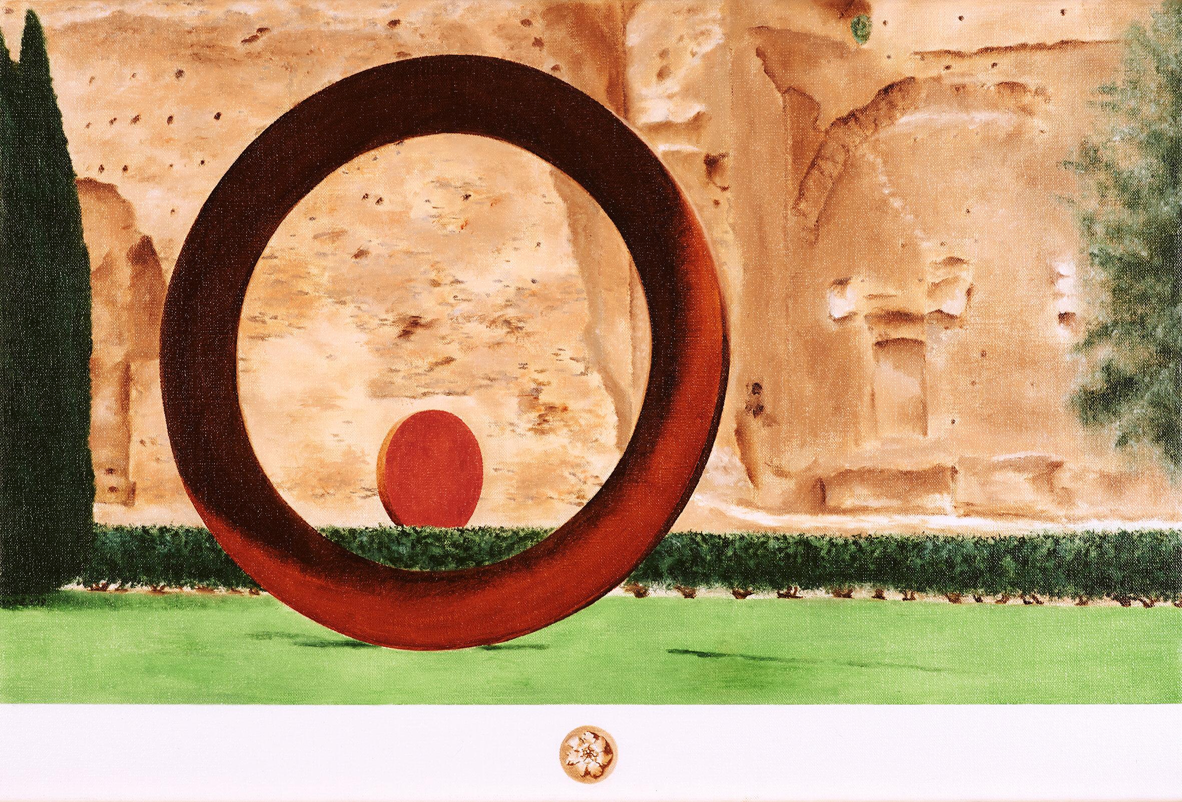 """Terme di Caracalla, """"Ambientale sensibile"""", Mauro Staccioli, 2018  2019 Olio su lino; 40 x 60 cm € 1,000"""