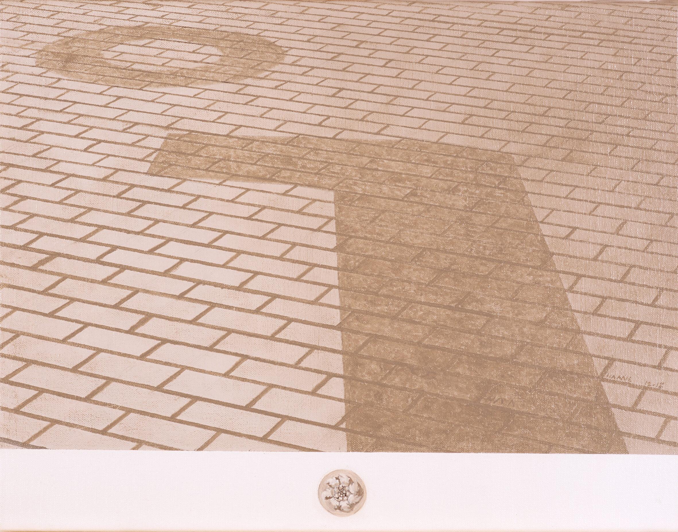 Strada con due tràccie degli resti romani, Barcellona, Spagna  2019 Olio su lino; 32.5 x 42 cm € 725