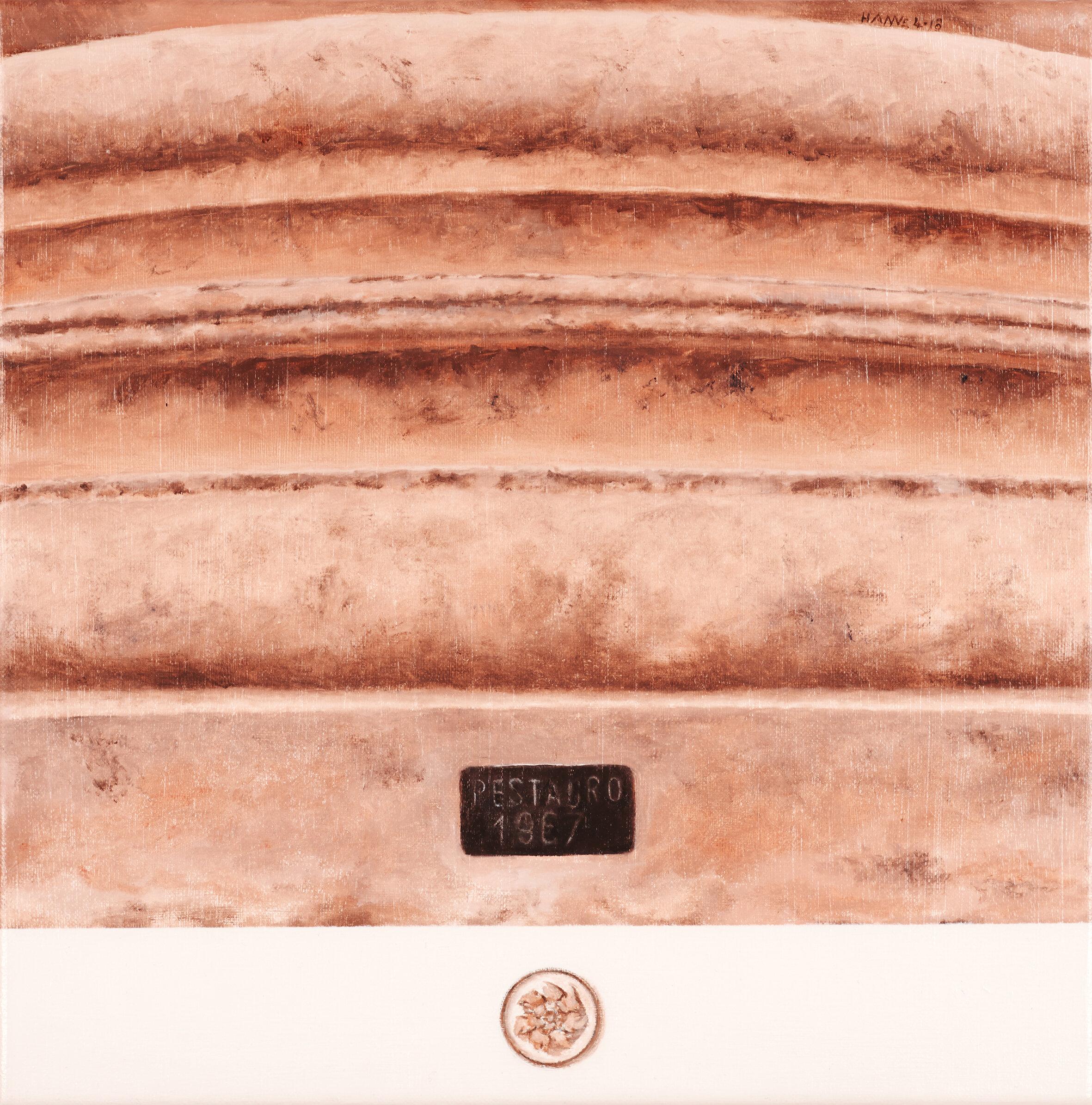 Frammento di colonna romana, Ostia antica  2018   Olio su lino, 30 x 30 cm € 505