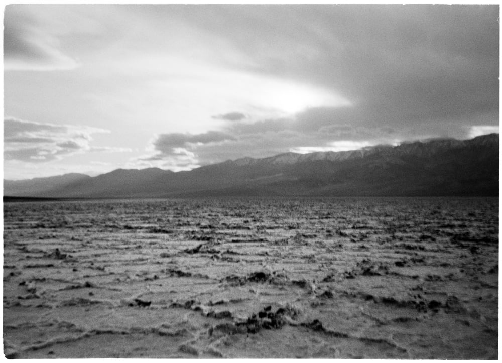 Holden's first photograph of Death Valley. Looking to the south west at Badwater Basin, 2012. Age 2.