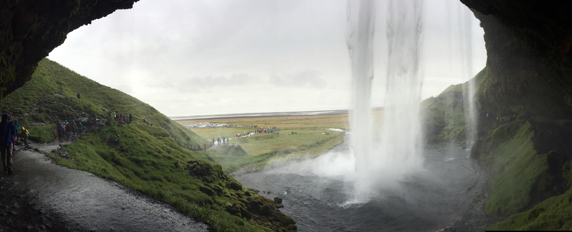 Deep in the bowels of Seljalandsfoss. It was a surreal experience to stand behind this waterfall. Very primal. Recommended. SELJALANDSFOSS DETAIL II was made of the water cascading in the far right of this panoramic. Yes, the camera and I got soaked.