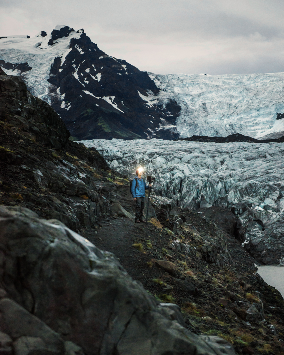 Walking back in the dark after making the scramble to photograph  SKAFTAFELL GLACIER DETAIL  in southern Iceland, 2017.  Rob Larson  photo.