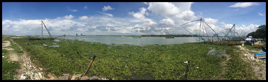 The massive Chinese Fishing Nets along the Fort Kochi boardwalk.