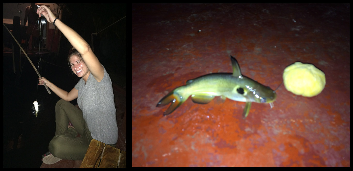 Fishing at night on the houseboat. Caught a whopper!!!!!!