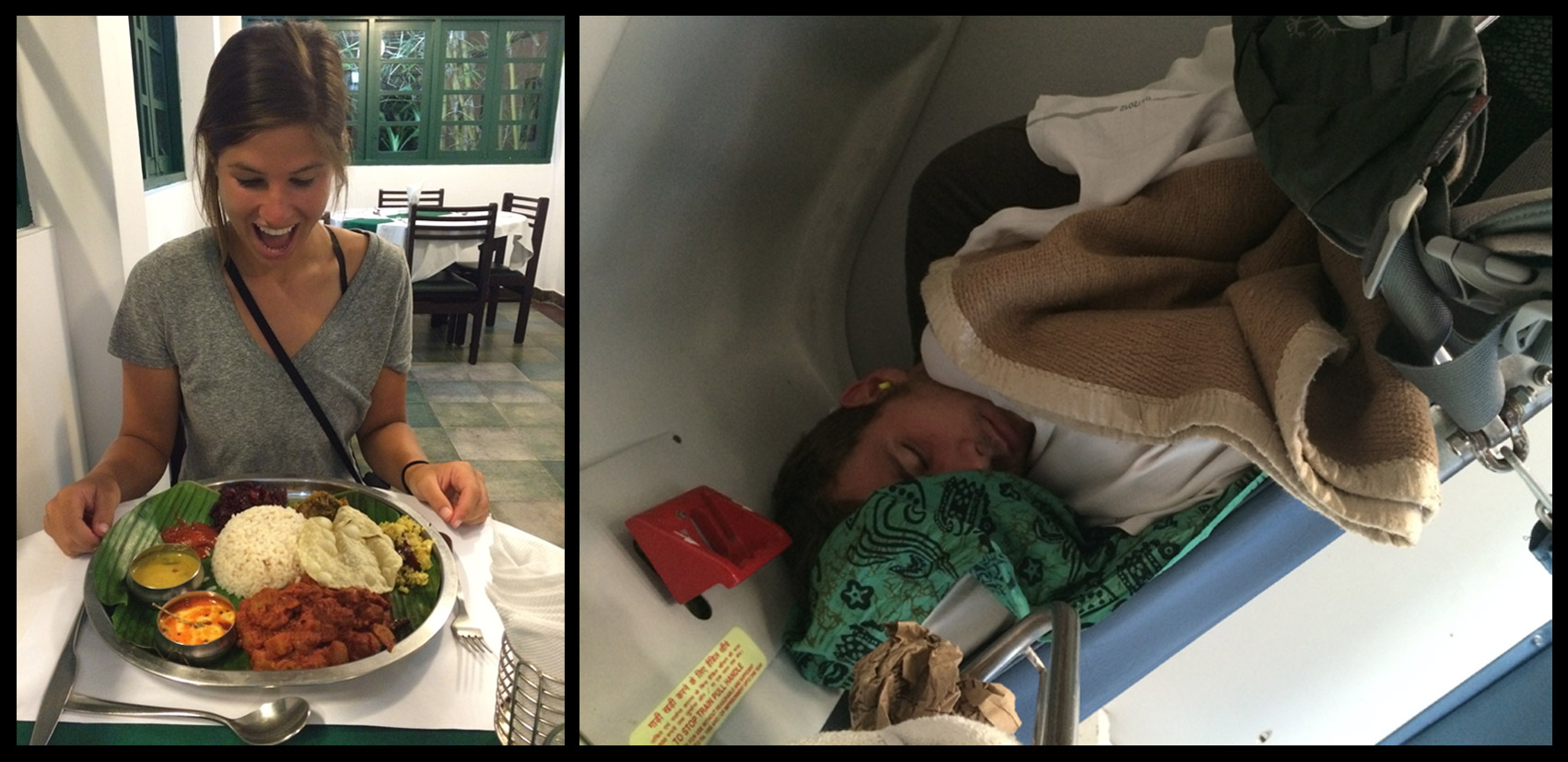 Left: Delicious Keralan Food. Right: Mikey asleep on the freezing 14 hour train ride.