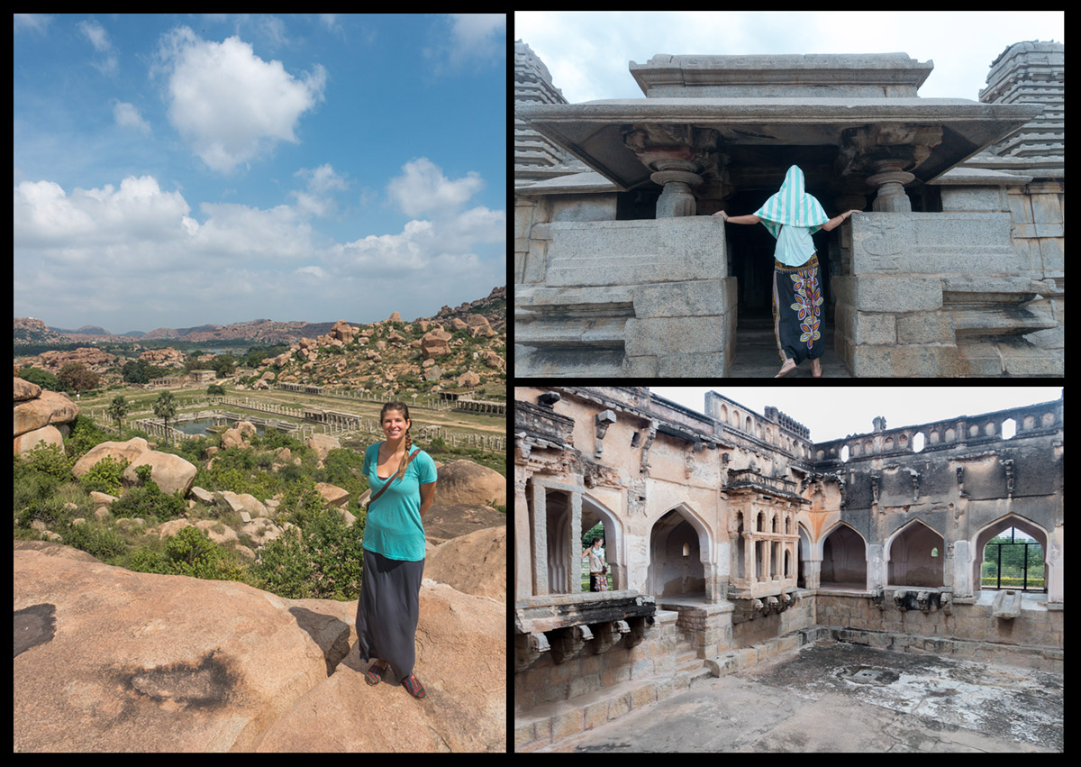 On the left, Mikaela standing abovewhatwas oncethe Jewel bazaar. The bottom right is the empty pool in which the queen of Hampi used to bathe.