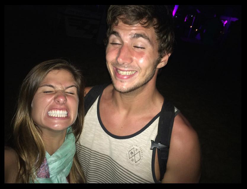 Crazy faces at a beach bonfire party in Unawatuna.