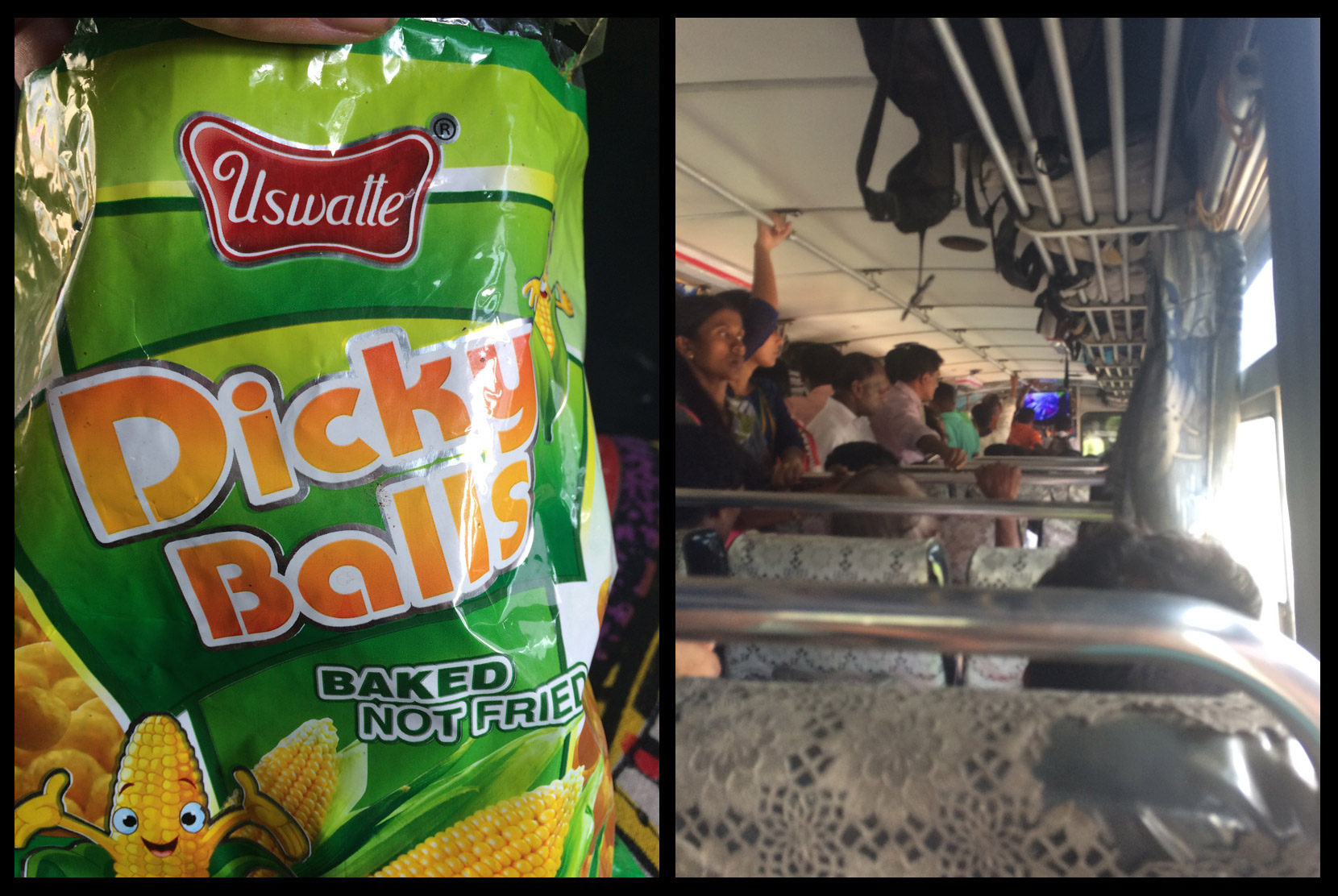 Coincidentally, our favorite Sri Lankan snack (DICKY BALLS!) and the crowded bus ride up to Ella.