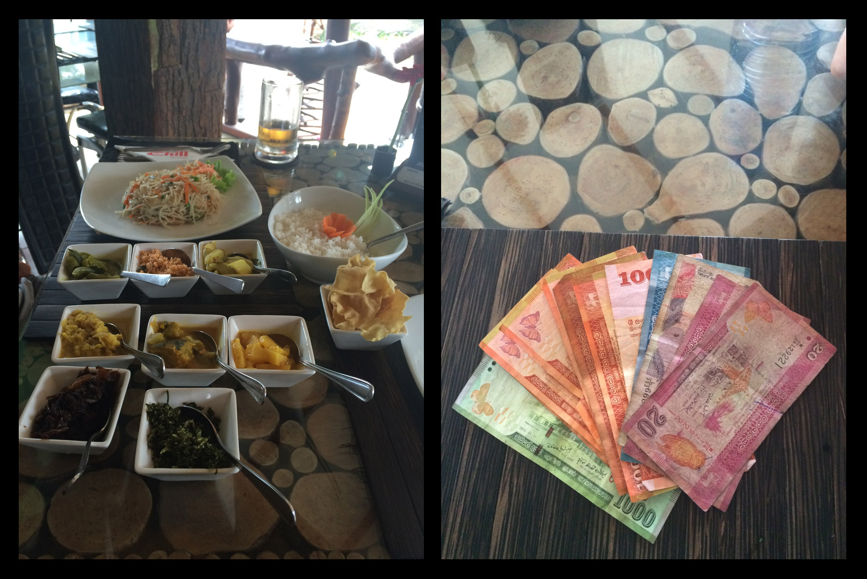 A ten course rice and curry dish for one person (yes that's 10 separate spoons!) and the colorful Sri Lankan money.
