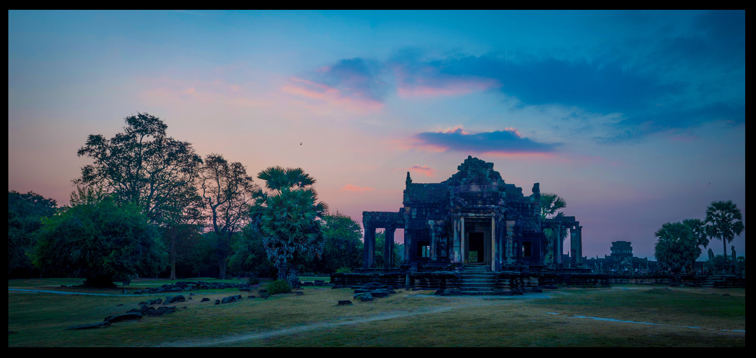 Sunset at a small temple on the outskirts of Angkor Wat.